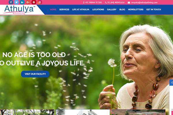 Athulya Assisted Living Website Screenshot