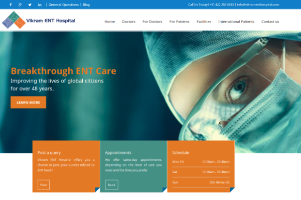 Vikram ENT Hospital Website Screenshot